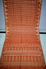 Vintage Florel Flower 100% Pure Silk Golden Zari  Boder Saree Sari Craft Fabric