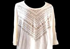 Catherines Plus Size 1X Tee Top Ivory Glittery 3/4 Sleeve Shirt