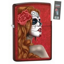 Zippo 28830 day of the dead zombie woman candy apple red Lighter + FLINT PACK