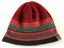 The North Face Reversible Beanie Hat Burgundy Red & Grey Warm One Size Pattern