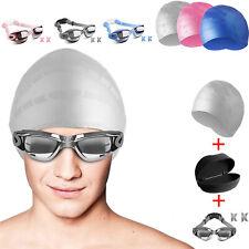 Swimming Goggles UV Fog Anti Swim Glasses Pool+Swimming Cap Hat Adult Men Women