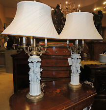 Pair 19th Century Bisque Table Lamps converted candelabra nymphs brass wood