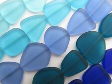 Sea Glass BEADS 21-25mm 5 strands Assorted Blue Cobalt 5 pc ea Flat Freeform mak