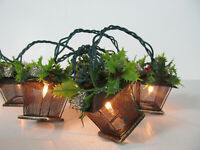 Christmas String Lights 10 Lantern Cage Holly Leaves & Berries White Lites B
