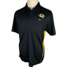Nike Team Mizzou Tigers Golf Polo Shirt Large Black Yellow Dri-Fit Short Sleeve