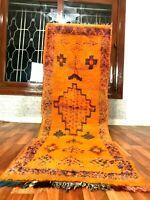 "Vintage Moroccan handmade 7'3""x2'4"" Bohemian Berber Geometric Orange Runner"