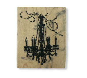 Used Inkadinkado Chandelier Wood Mounted Rubber Stamp Paper Art Craft Scrapbook