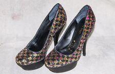 ☆☆ NINE WEST Multi-colored sequin round toe satin platform heel Size 5 NEW ☆☆