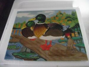 Large Hand crafted Ceramic art tile of Mallard ducks 35/28 cm
