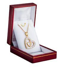 Collier et Pendentif Coeur Brillants En Plaqué Or avec boite ecrin pour offrir