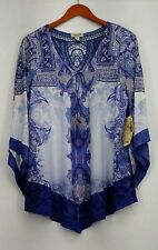 One World Plus Size Top 1X Bell Sleeve Chateau Backlique Tie Tassel Blue New