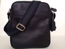 New Coach F71723 Mens Flight Bag Smith Leather Crossbody Shoulder Bag Black