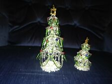 NOS HAND BLOWN CLEAR SPUN GLASS TREES WITH COLORED ORNAMENTS AND GOLD STARS