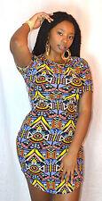 Tribal Aztec African Print Ankara Spandex Jersey T-Shirt Hi Lo Midi Dress Size L