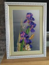 Handmade Embroidered Beaded Picture of Evening Irises, perfect family gift