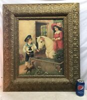 Vtg Antique Victorian Ornate Frame Litho Horse Pony Boy Girl Terrier Dog Print
