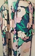 Vintage Multi Color Floral Alice of California Bell Bottom Pant Suit Outfit Med