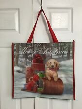 New TJ Maxx Christmas Shopping Bag Golden Retriever Pup Sleigh Ride Tote