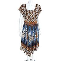 MAYLA Batik Brown Blue Beige Butterfly Floral Ethnic Festival Boho Dress M /6599