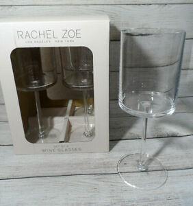 NEW SET 6 RACHEL ZOE CLEAR ACRYLIC 14oz. FLAT BOTTOM STEMMED WINE GLASSES 14oz