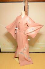 Japanese vintage Kimono Tsukesage Silk Women Pink Costume Takashimaya tag /588