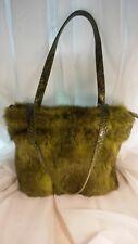 Genuine fur handbag purse with faux alligator straps green