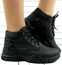 LADIES BLACK LACE UP HI HIGH TOP PUMPS TRAINERS SNEAKERS SHOES ANKLE BOOTS SIZES
