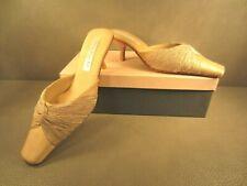 Olivia Rose Tal Almond Silk Crepe Twist Shoes Mules Kitten Heels Size 8