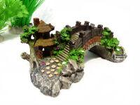 Aquarium Decoration Bridge Pavilion tree For fish Tank Resin Ornaments AK289