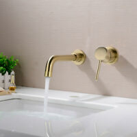 Solid Brass Bathroom Wall Concealed Basin Mixer Tap Sink Faucet, Brushed Gold