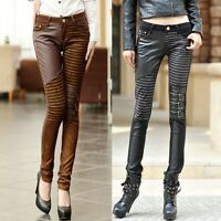 Womens Punk Zip Faux Leather Leggings Slim Skinny Pants Jeggings Casual Trousers