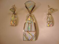 LARGE Long WHITE Pink Fire Opal PENDANT & Earrings SET $380 Sterling Silver 925