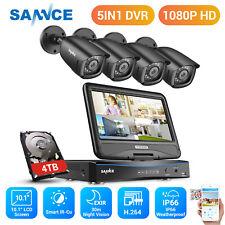SANNCE 1080P Caméra Surveillance 4CH DVR 10'' Moniteur Détection mouvement IP66