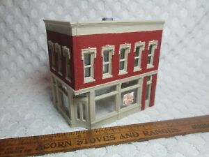 """Vtg HO Scale City 2 Story Brick Building 4.3 """" X 2.9"""" Foot 4.2"""" Tall Mirrored nr"""