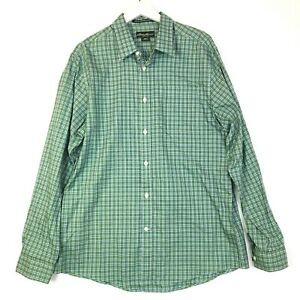 Eddie bauer plaid wrinkle resistant button up shirt classic green mens large