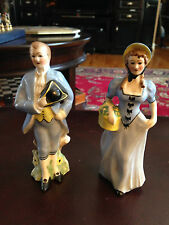 "Two Figurines Man and Woman Dressed in Blue & Yellow Hand Painted Germany 61/4""H"