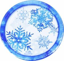 """8 Snowflake Christmas Frozen Dinner Party Table Decoration Kids Paper Plates 9"""""""