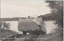 Wisconsin Wi Real Photo Rppc Postcard c1950 Lake Delton Amphibian Lines Boat Car
