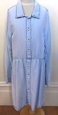 SEED Girls Light Blue Collared Soft Feel Long Sleeve Drop Waist Shirt Dress 12