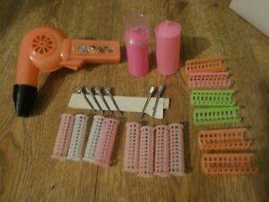 Vintage Toy Hairdressing Set Hairdryer  Rollers Hairpins Hairspray 1970s-1980s