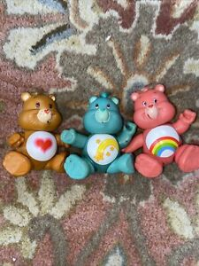 Vintage 1980's Care Bears PVC Poseable Figures Kenner Lot of 3