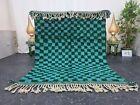 "Moroccan Handmade Beni Ourain Rug 5'x6'4"" Berber Checkered Green Dark aqua Rug"