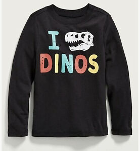Old Navy Long Sleeve ~ I love Dinos ~ Tee Toddler Boys Girls Size 12-18M - 5T