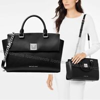 NWT🍒 MICHAEL KORS SYLVIA MEDIUM LEATHER TOP ZIP SATCHEL CROSSBODY BLACK SILVER