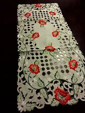 """16""""x36""""Embroidered Tablecloth Red Poppy Floral Cutwork Table Runner Home Decor"""