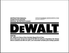 "Dewalt 20"" Heavy Duty Variable Speed Scroll Saw Instruction Manual Model DW788"