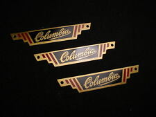 COLUMBIA REAR RACK BADGE NAME PLATE'S 1940'S BRASS 5 STAR BIKE & OTHERS