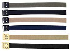 Solid Color Belts w/ Open Face Buckle - Black Khaki Tan Navy Blue OD Cotton Belt