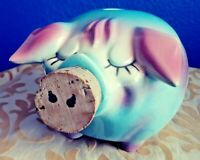 Corky Pig Hull Pottery 1957 Pink & Blue Pig Bank W Cork Nose Mid-Century Dated