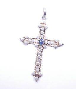 Silver Cross Pendant Opal Doublet Gothic Huge 925 Sterling 12g